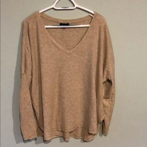 Urban Outfitters Beige Oversized Thermal Top (M)